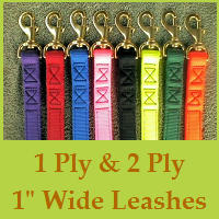 1 Ply & 2 Ply 1inch Wide Heavy Duty Nylon Leashes-Custom Length-Custom Color Combinations